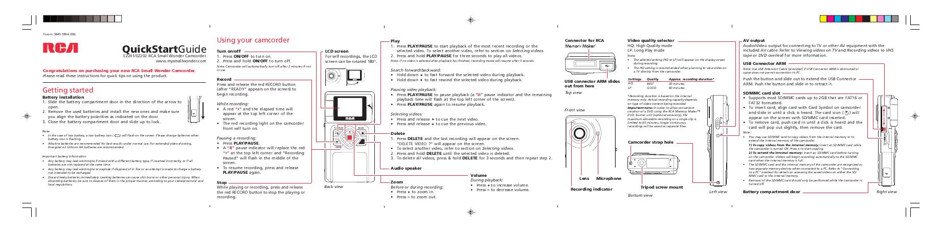 rca camcorder ez201 user 39 s guide. Black Bedroom Furniture Sets. Home Design Ideas