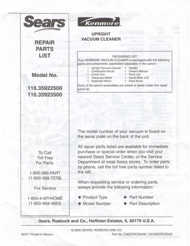 parts manuals for sears