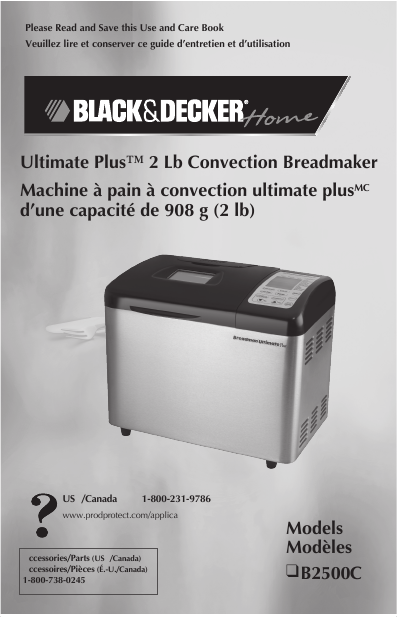 Black & Decker Convection Breadmaker Use & Care Manual