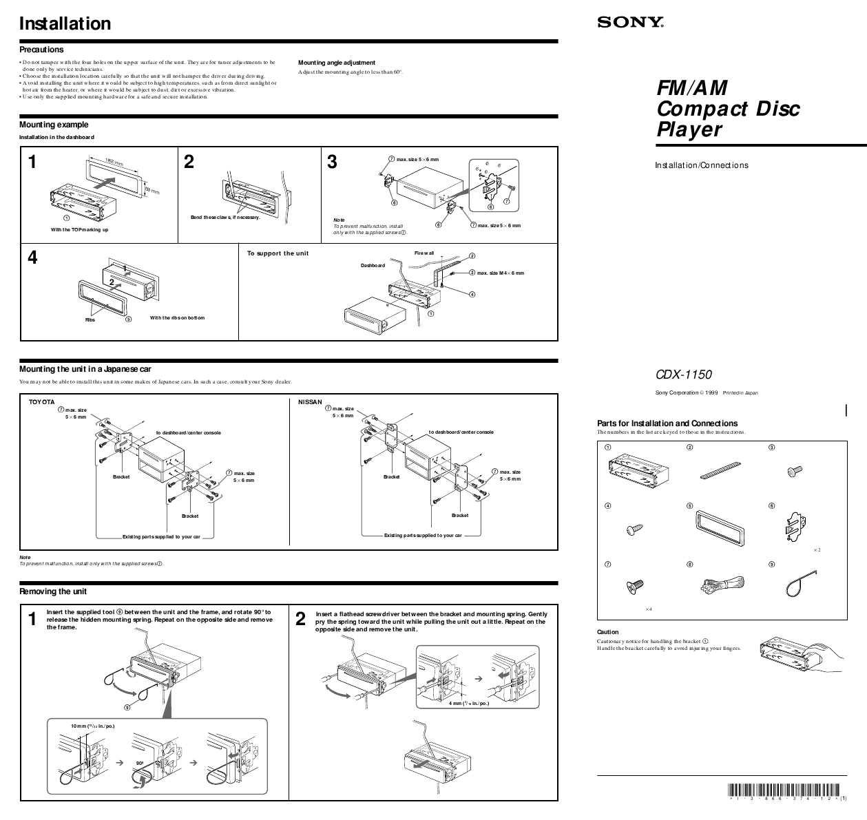 Sony CD Player Wiring Diagram http://caraudio.manualsonline.com/manuals/mfg/sony/cdx1150.html