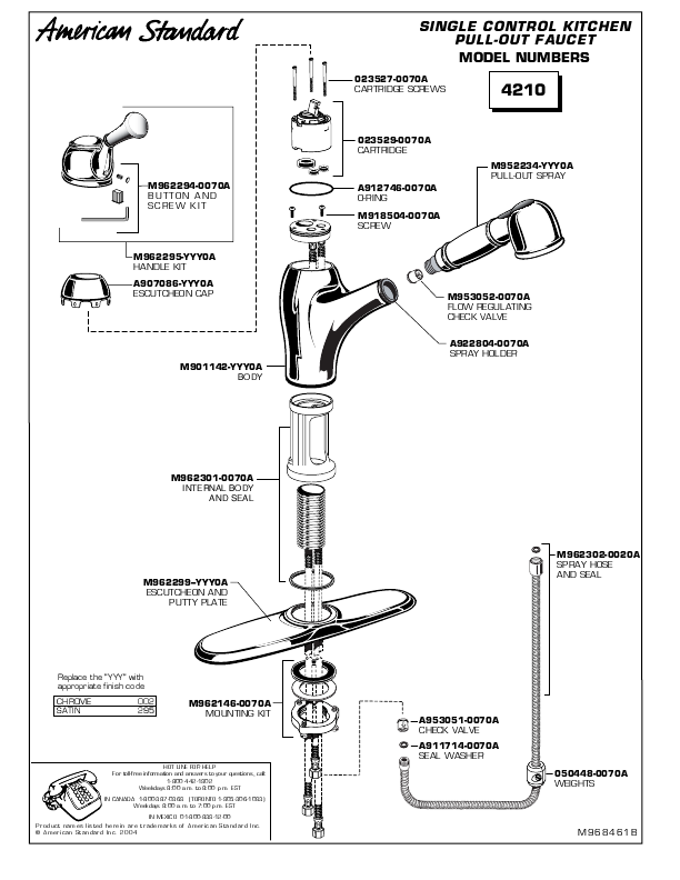 american standard indoor furnishings 4210 user s guide pull out kitchen faucet delta faucets repair parts kohler