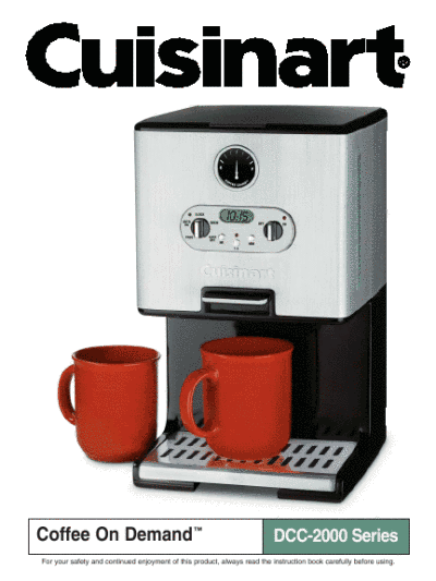 Coffee Maker Clean Light Blinking : Cuisinart Coffeemaker DCC-2000 Series User s Guide ManualsOnline.com