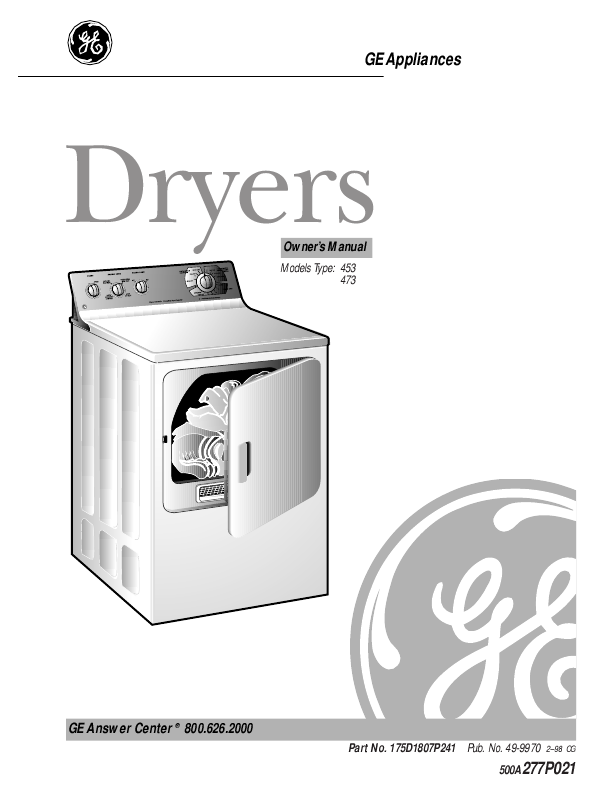 ge clothes dryer 473 user s guide manualsonline