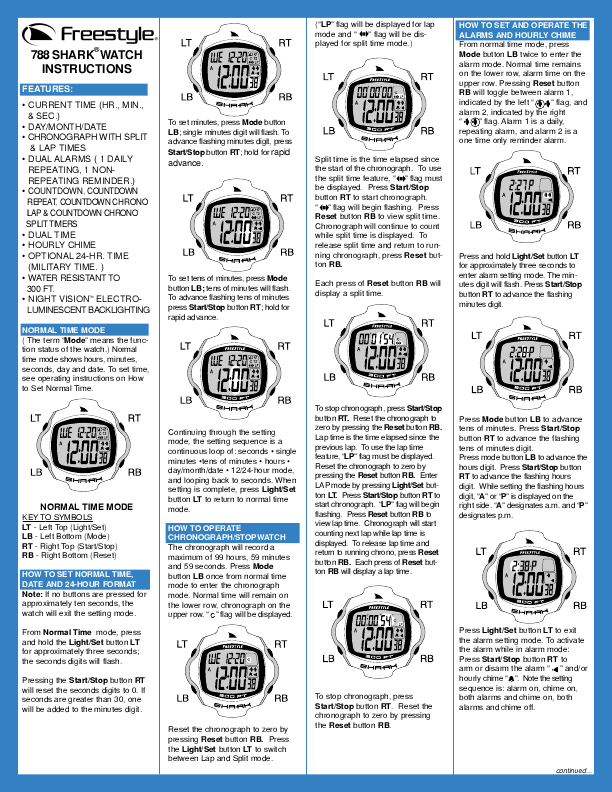 Freestyle Shark Watch Instructions Manual Guide