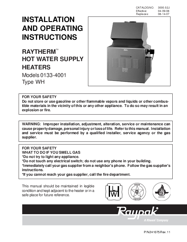 similiar water heater installation manual keywords type manual raypak raytherm heating boiler user s manual models 0133