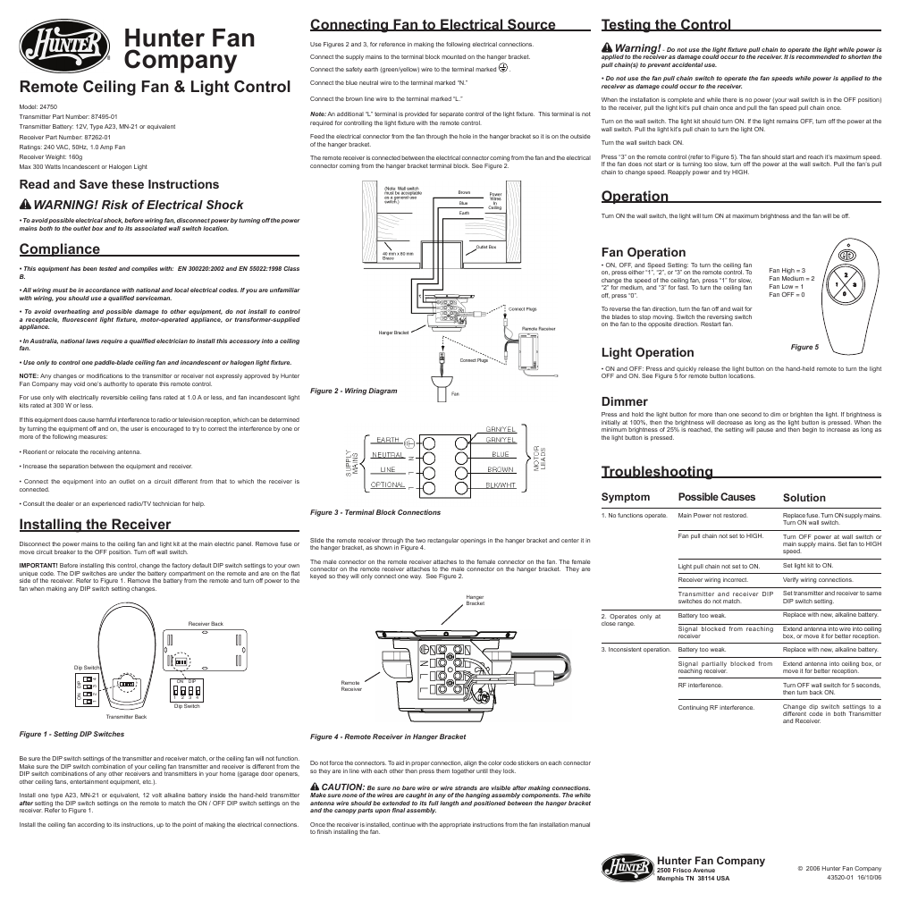 Search Controls Remote Control User Manuals Manualsonlinecom Hunter Dsp Wiring Diagram Fan Ceiling And Light 24750