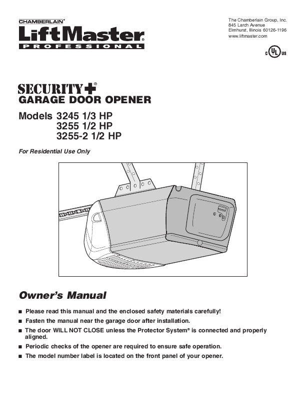 Chamberlain Garage Door Opener 3245 1 3 HP User s Guide
