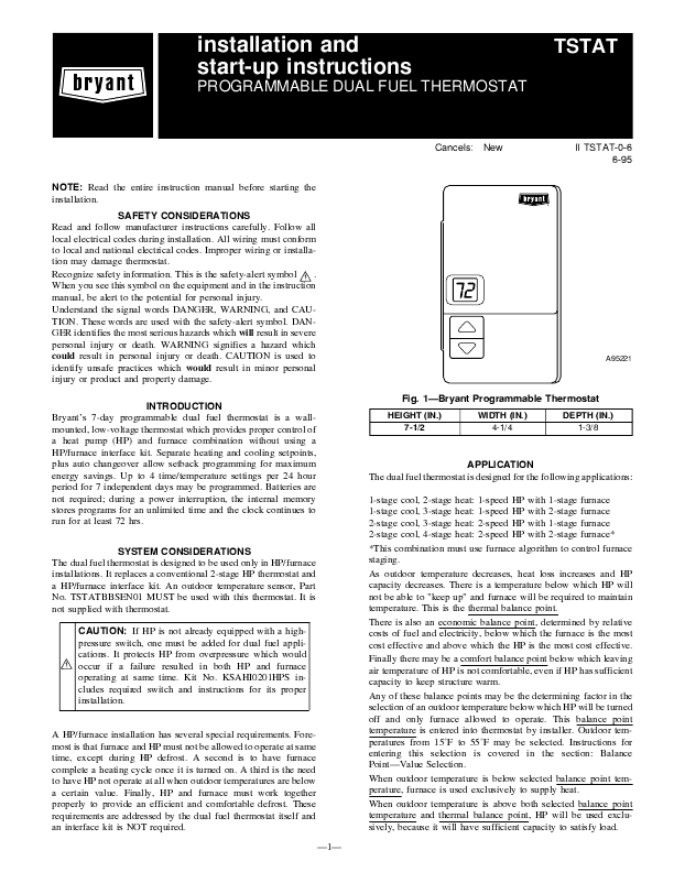 Download Free Bryant Thermostat Installation Instructions