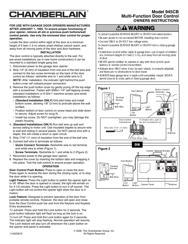 Chamberlain Garage Door Opener 945cb User S Guide