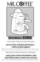 Mr. Coffee Espresso Maker ECM20 User s Guide ManualsOnline.com