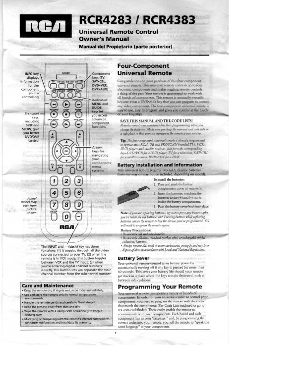 Rca Control Remote Universal User Manual Manualsonline