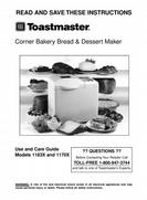 Toastmaster Corner Bakery Bread & Dessert Maker Use and Care Guide