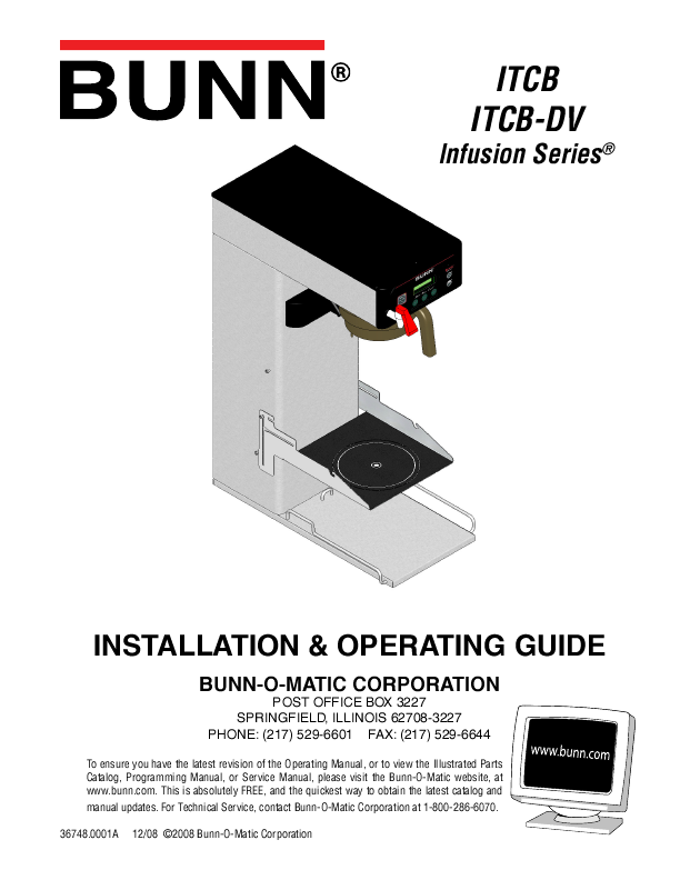 Bunn Coffee Maker User Guide : Bunn Coffeemaker ITCB User s Guide ManualsOnline.com