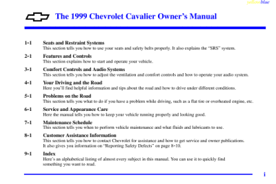 Chevrolet 1999 Cavalier Owner's Manual | ManualsOnline.com