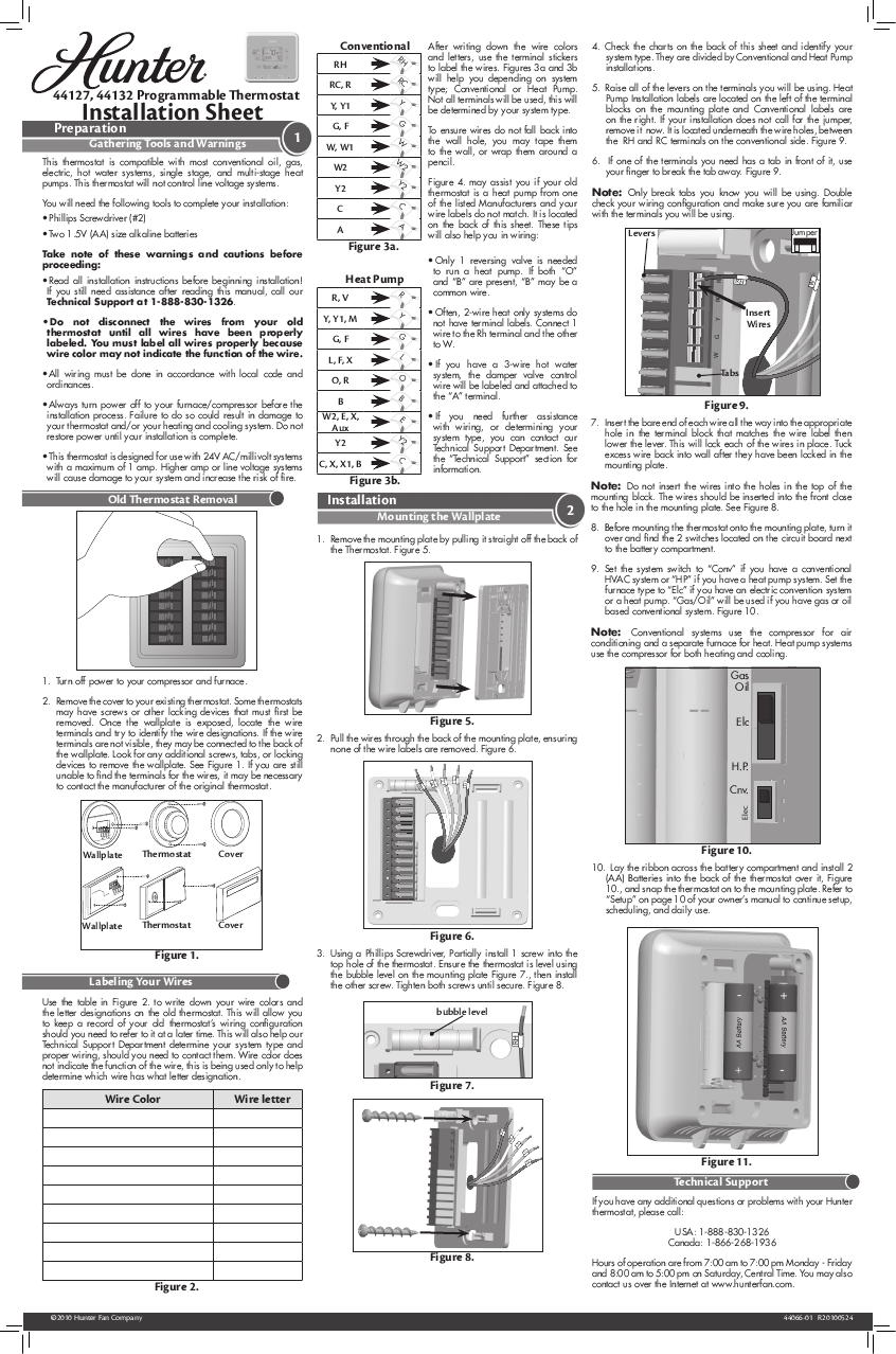 Hunter 42122 Thermostat Wiring Diagram Diy Enthusiasts Search User Manuals Manualsonline Com Rh Homeappliance Ac Color Code